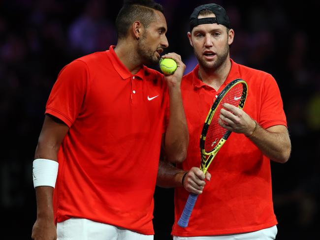 Nick Kyrgios in doubles with Jack Sock.