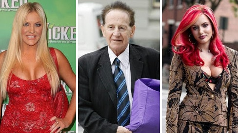 Geoffrey Edelsten passed away on Friday.  He was previously married to Brynne Edelsten, left, and Gabi Grecko, right.