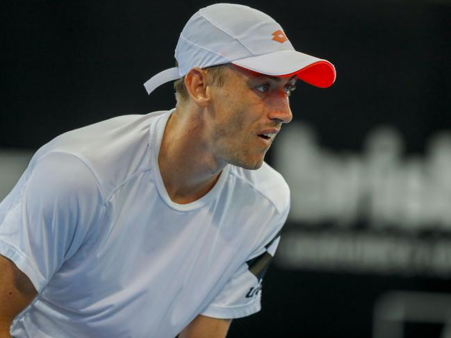 John Millman during a practice session at the Pat Rafter Arena.