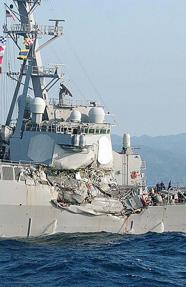 A photo from Japan Coast Guard shows damage to the guided missile destroyer USS Fitzgerald after it collided with a Philippine-flagged container ship on June 17, 2017. Picture: AFP
