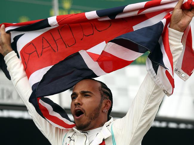 Lewis Hamilton winds up the massive Silverstone crowd.