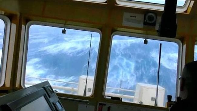 Massive cruise ships are seen rocking wildly at sea in the stomach-churning footage. Picture: Channel 4