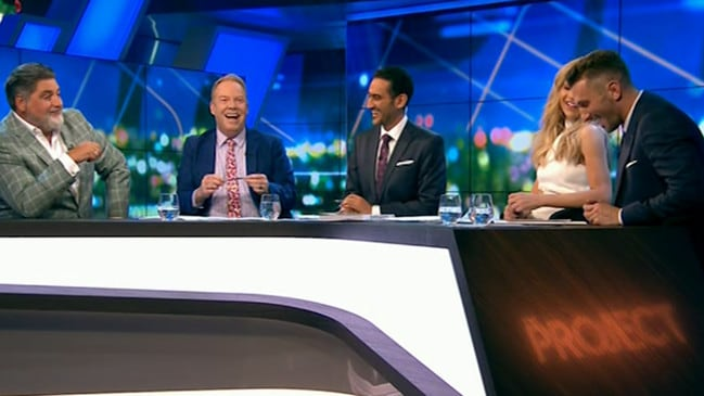 The Project panel couldn't help but crack up after the cheeky dig. Picture: Channel 10.