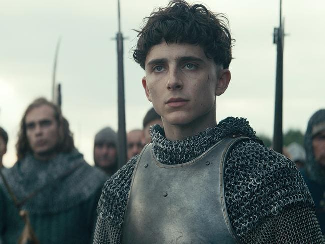 Timothee Chalamet as Henry V in The King.