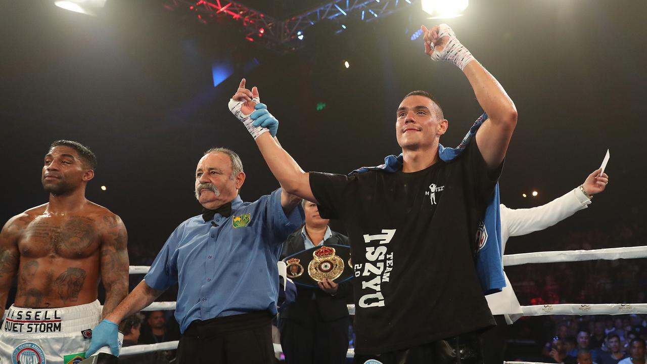 Tim Tszyu wins his fight against Denton Vessell during the Star of the Ring boxing night at the Horden Pavilion, Sydney. Picture: Brett Costello