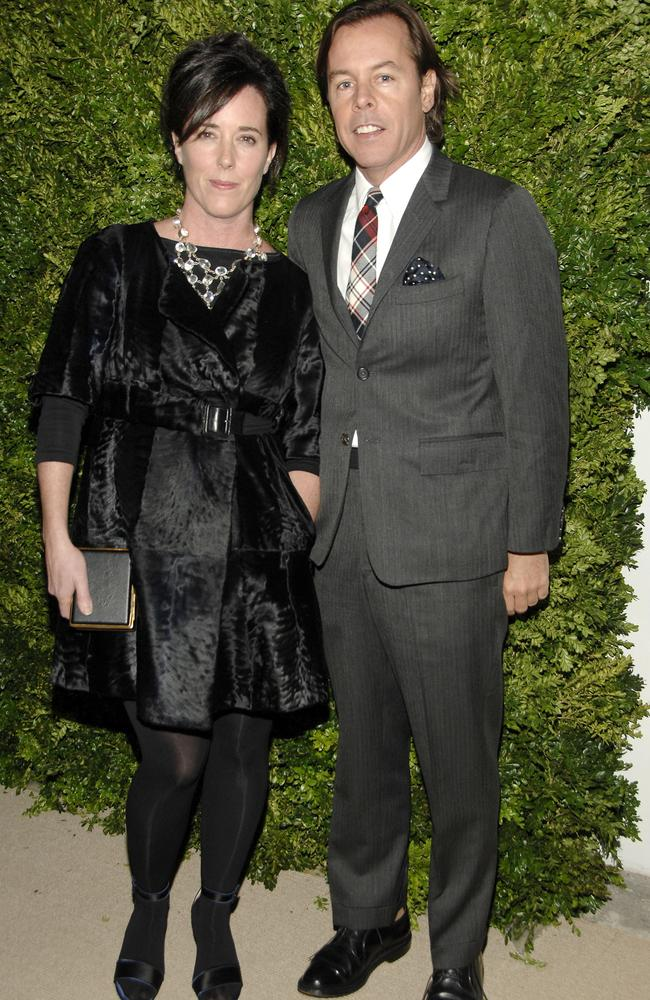 Kate Spade and husband Andy Spade attend CFDA/VOGUE Fashion Fund Awards in 2008. Picture: Getty