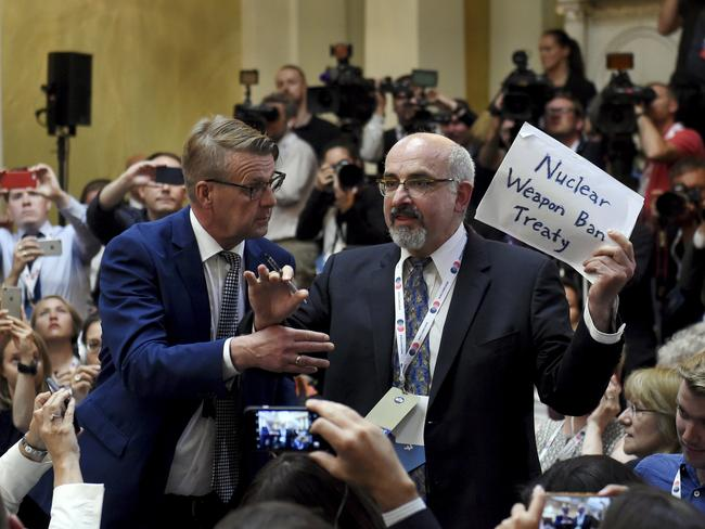 The protester claimed he was a journalist for US magazine The Nation, but had justone published story in the publication. Picture: Antti Aimo-Koivisto/Lehtikuva via AP