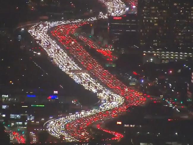 Los Angeles is an example of what happens when a city doesn't have adequate public transport — daily traffic chaos. Picture: ABC7 Eyewitness News