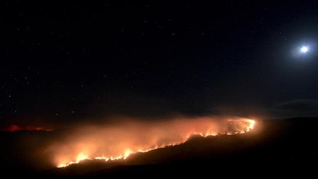 A line of fire in the Blue Mountains last night. Picture: Hazelbrook Rural Fire Brigade