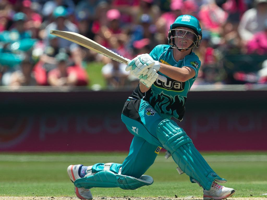 Beth Mooney of the Heat during the Women's Big Bash League (WBBL) final between the Sydney Sixers and the Brisbane Heat at Drummoyne Oval in Sydney, Saturday, January 26, 2019. (AAP Image/Steve Christo) NO ARCHIVING, EDITORIAL USE ONLY, IMAGES TO BE USED FOR NEWS REPORTING PURPOSES ONLY, NO COMMERCIAL USE WHATSOEVER, NO USE IN BOOKS WITHOUT PRIOR WRITTEN CONSENT FROM AAP