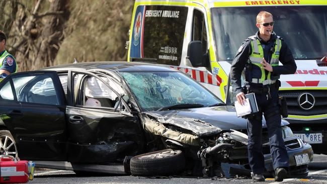 A car involved in an accident along Anglesea Rd in Freshwater Creek. Picture: Alex Coppel