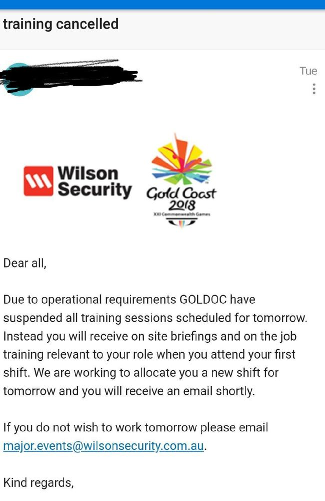 Commonwealth Games security guards received emails telling them training had been cancelled and 'system errors' had lead to rostering and accreditation mistakes. Picture: Supplied