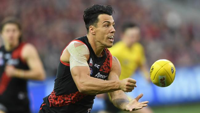 Dylan Shiel of the Bombers was handball happy against the Cats in Round 7, but only just fell short of the 100 point mark