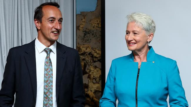 Rivals: Liberals' Dave Sharma and independent Kerryn Phelps at Bondi Surf Club. Picture: Hollie Adams/The Australian