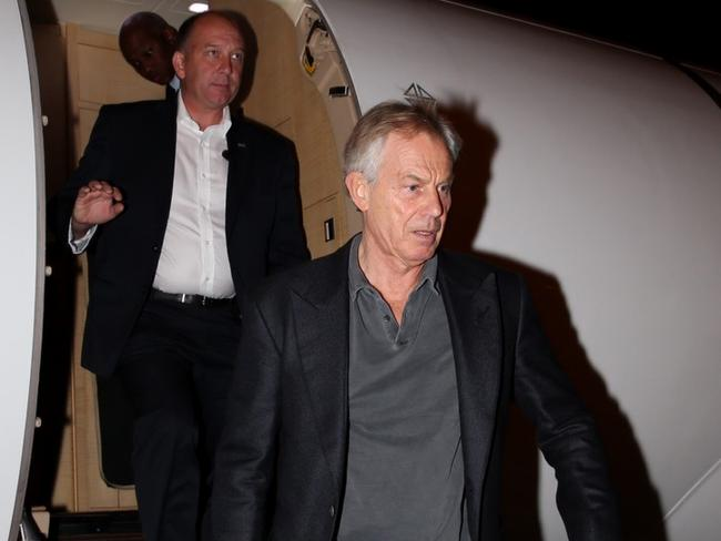 Former British Prime Minister Tony Blair arrives in Tel Aviv, Israel ahead of the funeral of former Israeli President Shimon Peres last month. Picture: AP