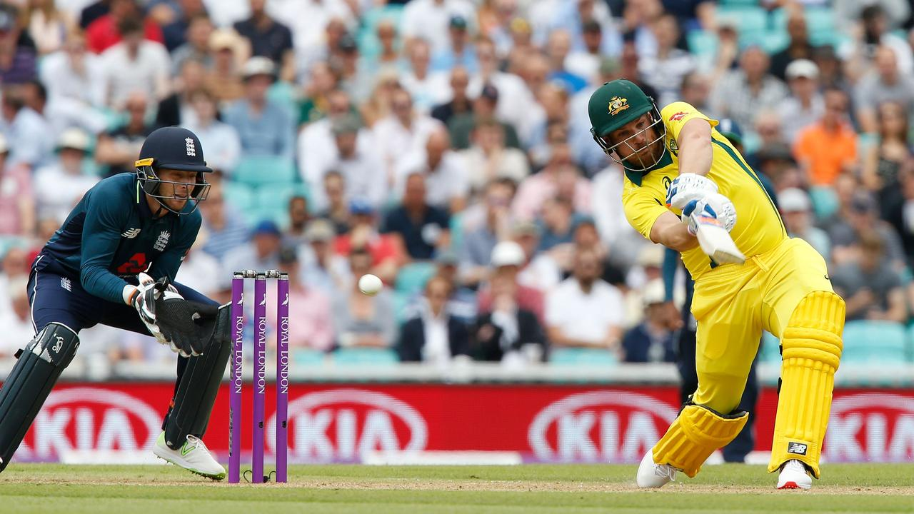 Aaron Finch plays a shot to be caught out for 19 runs during the first ODI.