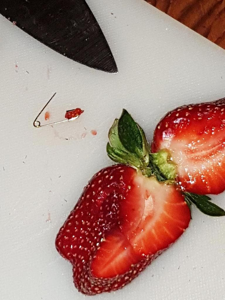 Pin found in a strawberry at Foodland store in Jamestown, South Australia. Picture: supplied