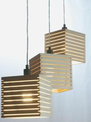The Spiral 180 pendant lights by Tasmanian industrial designer Duncan Meerding. Photo: Terence Munday.