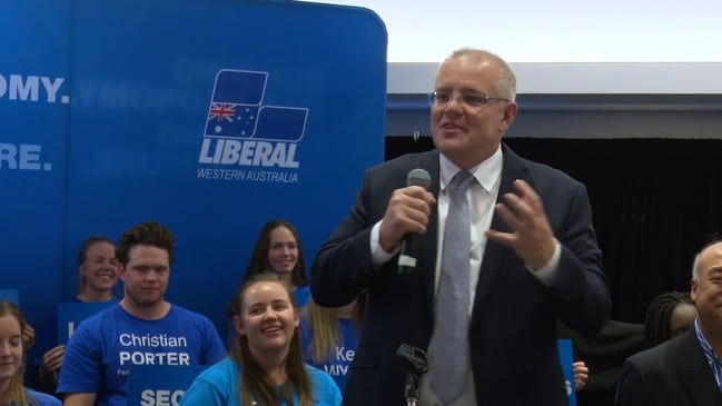 Scott Morrison addresses a rally in Perth