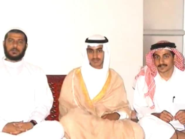 An image from video obtained by the CIA show Hamza Bin Laden (centre) at his wedding. Picture: Supplied/CIA