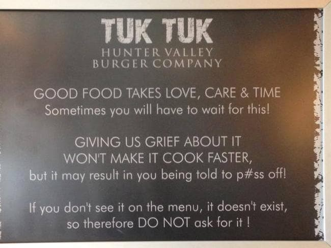 The restaurant's signs are similarly blunt in their tone.