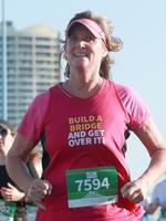 Karen Mcelligott runs in the Bridge to Brisbane race, Brisbane, Sunday August 25, 2019. (AAP/Image Sarah Marshall)