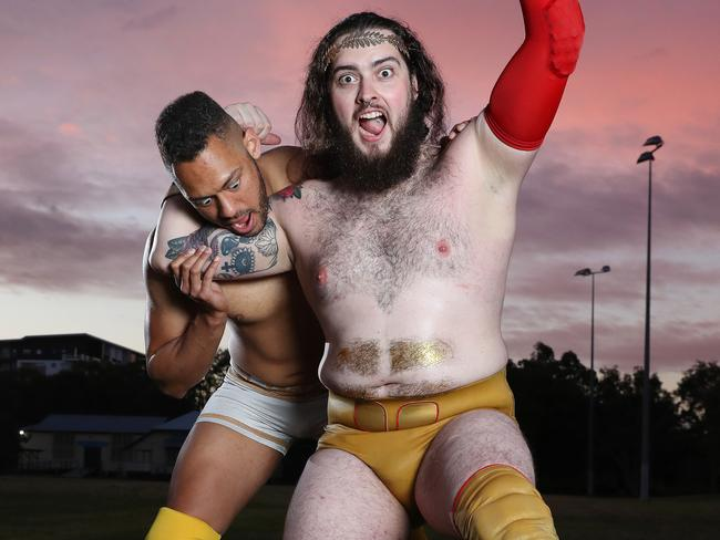 Professional wrestlers JL Gold, and Casey Eichmann. Picture: Liam Kidston