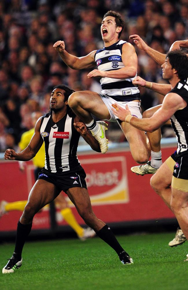 Daniel Menzel took this big pack mark before booting his second goal.