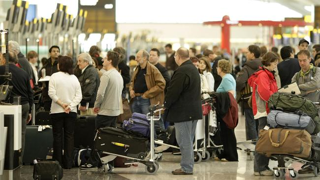 No-one would miss scenes like this at airports if biometric technology streamlined the departure process. Picture: News Corp Australia