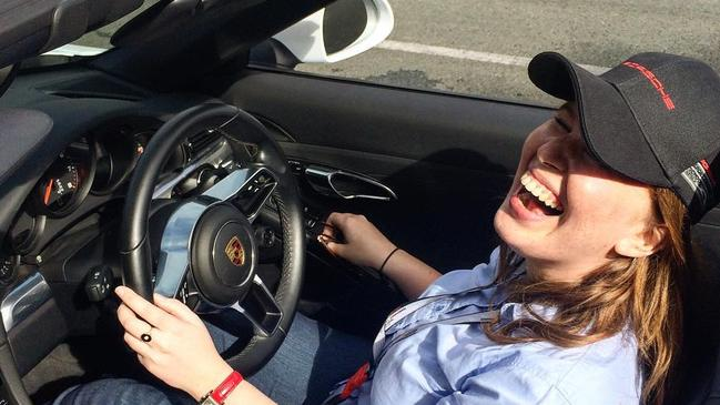 Amelia Hungerford, at Mt Cotton Driver training centre, driving a Porsche.