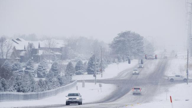 Snow falls in Omaha, Nebraska. Picture: AP