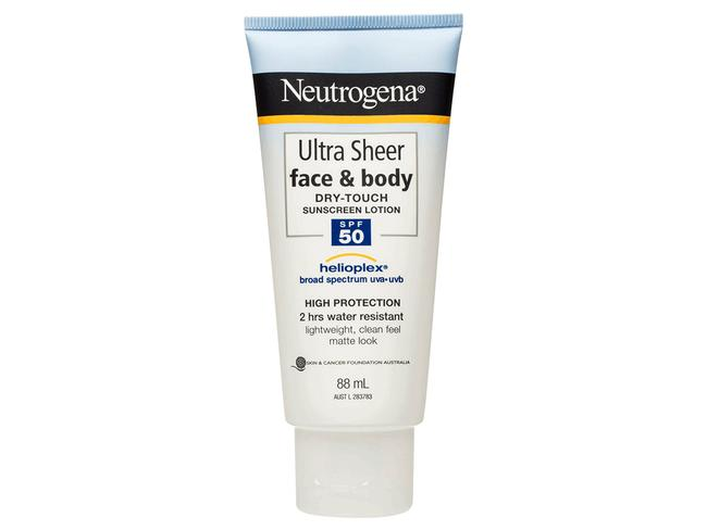Neutrogena ultra sheer 50 plus sunscreen. Picture: Supplied