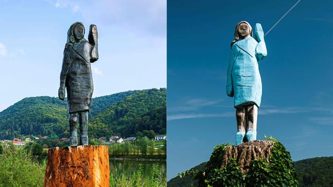 The new bronze statue depicting Melania Trump (left), and the original statue (right) that was torched. Picture: Jure Makovec/AFP