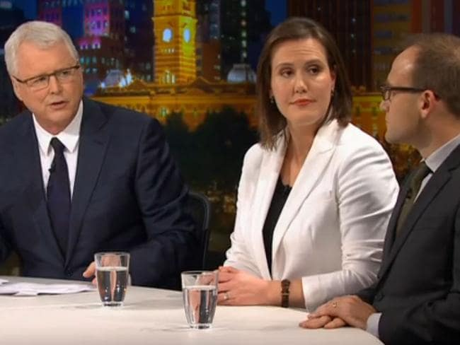 Q&A host Tony Jones, Assistant Treasurer Kelly O'Dwyer and Green MP Adam Bandt.