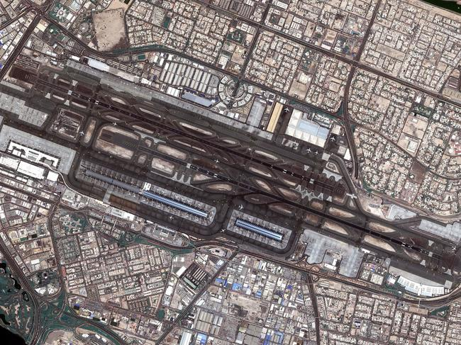 Dubai International Airport from outer space. The airport processes 90 million passengers a year, and is set to grow capacity to 118 million by 2023. Picture: Mohammed Bin Rashid Space Centre
