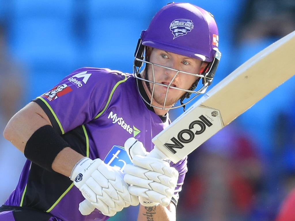 D'Arcy Short of the Hurricanes plays a shot during the Big Bash League (BBL) T20 match between the Hobart Hurricanes and the Sydney Sixers at Blundstone Arena in Hobart, Monday, January 8, 2018 (AAP Image/Rob Blakers) NO ARCHIVING, EDITORIAL USE ONLY, IMAGES TO BE USED FOR NEWS REPORTING PURPOSES ONLY, NO COMMERCIAL USE WHATSOEVER, NO USE IN BOOKS WITHOUT PRIOR WRITTEN CONSENT FROM AAP