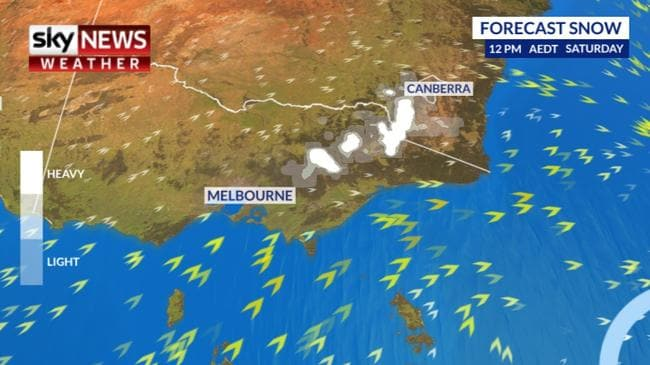 Snow is likely to fall across the Victorian Alps and Snowy Mountains. Picture: Sky News Weather