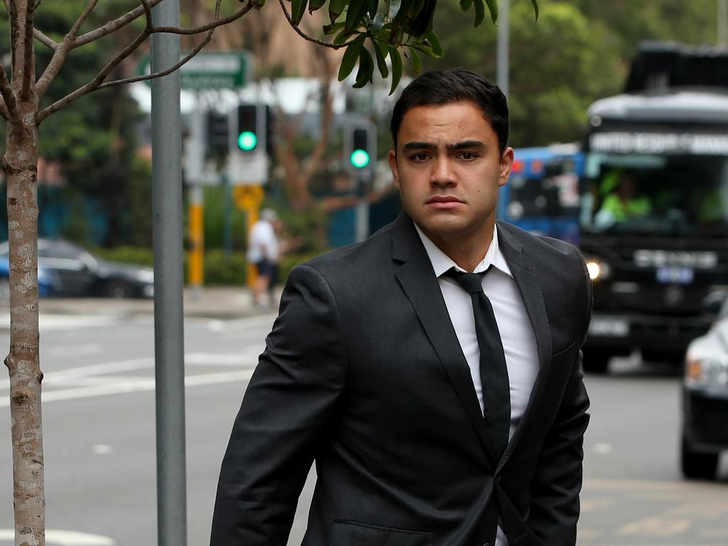 Dylan Walker arrives at Manly Local Court to answer assault allegations. Picture: NCA NewsWire / Damian Shaw