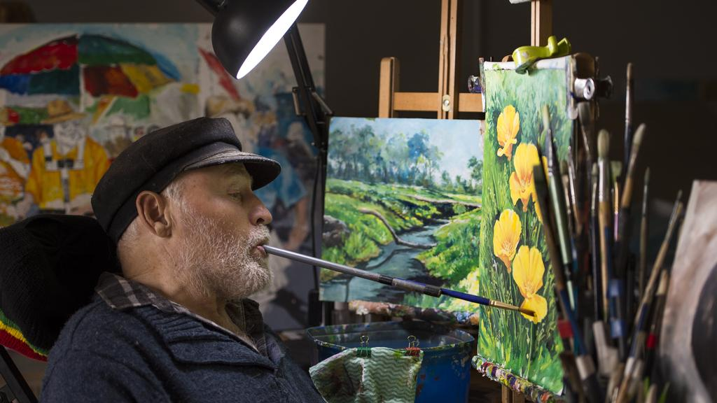 Mouth And Foot Painting Artists Greeting Cards Show Spirit The Weekly Times