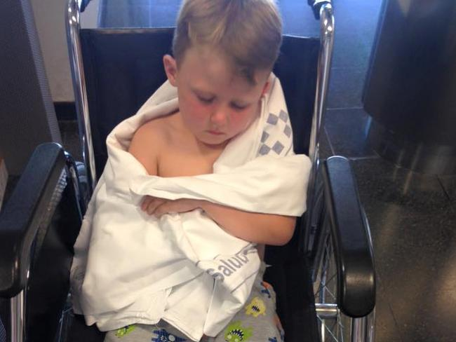 Tough tyke ... Ms Collins said her son Jack bounced back quite quickly. Picture: Laura Collins/Facebook