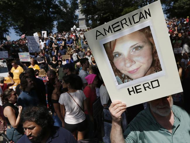 Heather Heyer was killed during a protest over a white supremacist rally in Charlottesville. Picture: AP