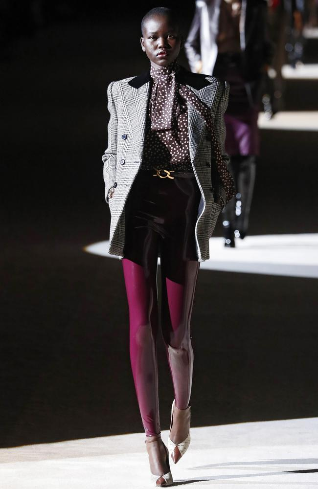 Sudanese-Australian model Adut Akech was a standout on the Saint Laurent runway, as per usual. Picture: Getty Images