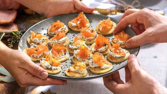 These are the smoked salmon blini with goats cheese and chives.
