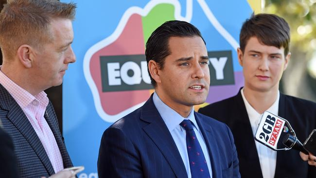 Tiernan Brady (left) with other leaders of the Equality Campaign including Sydney MP Alex Greenwich (centre) and Anna Brown. Picture: Troy Snook/News Corp Australia.
