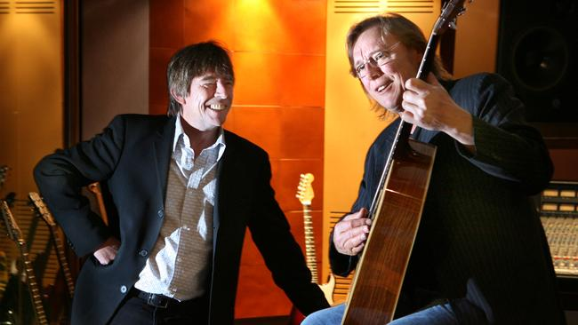 Harry Vanda (right) and his music partner George Young would produce John Paul Young's biggest hits. Picture: News Corp Australia