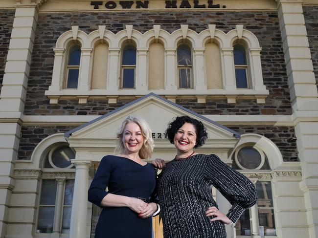 Town hall call: Holdfast Bay Acting Mayor Amanda Wilson with Outspoken Women's Louise Pascale in front of the Glenelg Town Hall on Moseley Square. Picture: AAP/Emma Brasier