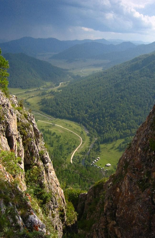 The valley above a cave where Denisovan fossils were found in the Altai Krai area of Russia. Picture: Bence Viola