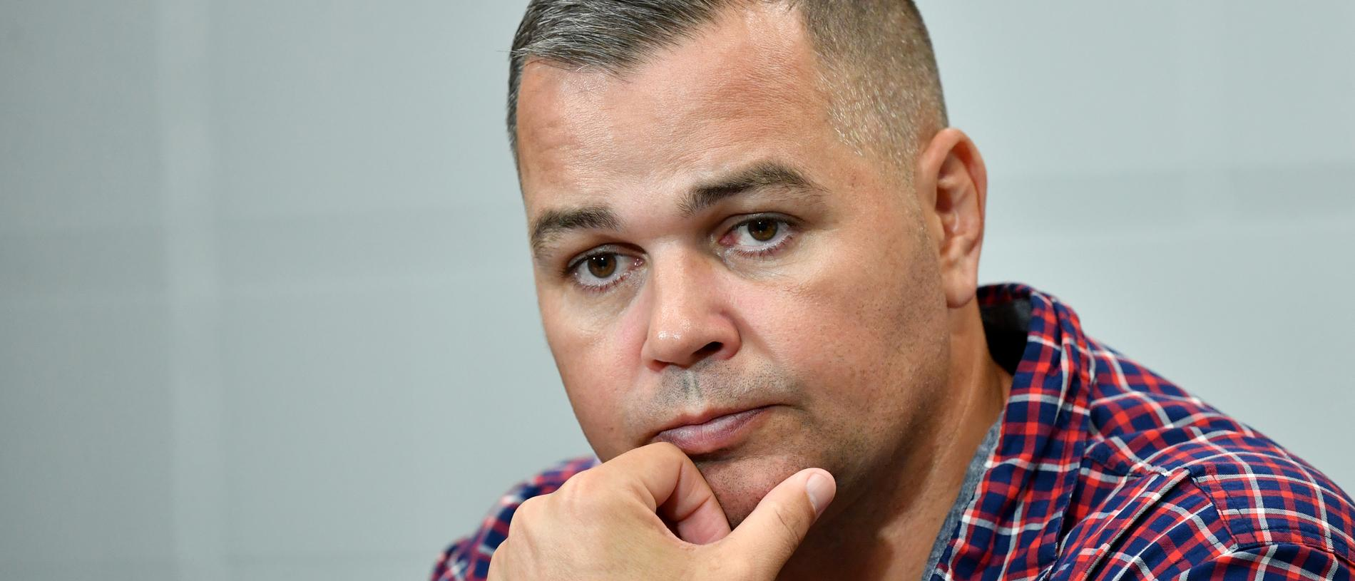 Broncos coach Anthony Seibold is seen during a press conference after the Round 3 NRL match between the Brisbane Broncos and the Parramatta Eels at Suncorp Stadium in Brisbane, Thursday, May 28, 2020. (AAP Image/Darren England) NO ARCHIVING, EDITORIAL USE ONLY
