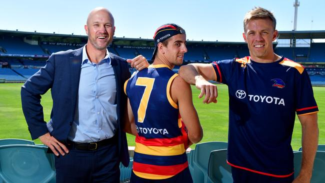 Adelaide draftee Jordan Gallucci will wear the No. 7 jumper only worn by two past players: Nigel Smart and Nathan van Berlo. Picture: Mark Brake