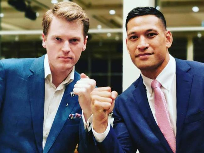 Israel Folau, pictured with Australian Christian Lobby managing director Martyn Iles. Picture: Facebook
